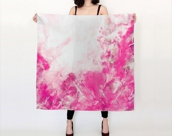 Red and Pink, Watercolor Silk Scarf, Original Abstract Watercolor,