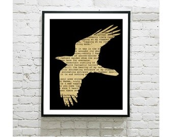 "Edgar Allen Poe Digital Art Print - The Raven - Gothic - Crow - Nevermore - Poetry - Literature - American Poet - Decor - Book Worm - 8""x10"""