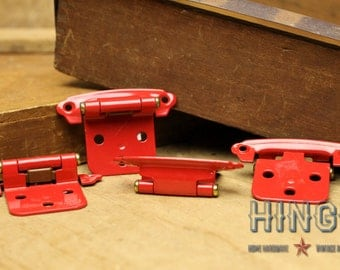 1960's 70's retro Red cabinet door hinges.  Item413