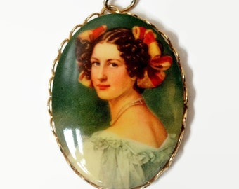 Vintage Pendant Charm Pretty Young Victorian Edwardian Woman Portrait Cameo Celluloid Gold Tone Costume Jewelry 1.75""