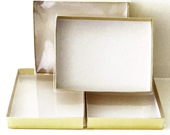8 Greeting Card Boxes, Jewelry Box, Gold Box with Clear Lid, Jewelry Supply, Card Supply, Craft Supplies