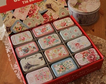 Set 36 Assorted Small Collectible Tins - Shabby Chic Little Floral Cases - Wedding Favors, Party, Gift Packaging - Sweet, Jewelry, Storage