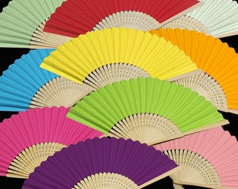 Set of 6 pcs Colored Paper Folding Fans (Small)  - Wedding Favors, Bridal Bridemaids Hand Fans - Gifts, Party Decor, Handicraft, Props