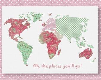 B1,Oh,the places you'll go, dr Seuss, kids wall art , baby girl room decor, world map nursery,, travel nursery, pink, green nursery