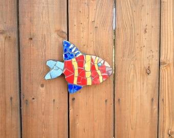 Tropical fish sculptures, tile mosaic fish, fence ornaments, fish sculptures, pool decor, fence decoration