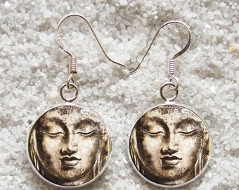 SALE 3 days 20% Resin EARRINGS - 925 Sterling Silver Hooks -((( Buddha )))- INCREDIBLE Price