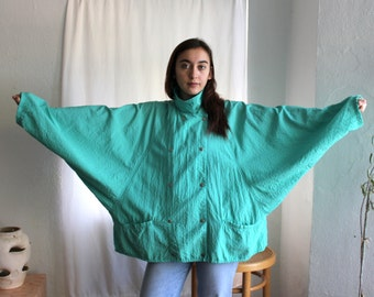 Baggy Turquoise Windbreaker Batwing Lightweight Jacket - Vintage