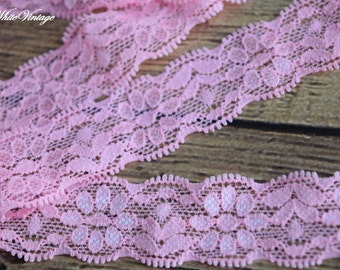 Pink  Stretch Lace by the Yard, 1  inch or about 25 mm  elastic webbing, Lace for Headbands,Wholesale Headbands
