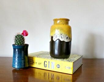 West German Fat Lava vase- Yellow Brown and White Scheurich Keramik 237-75
