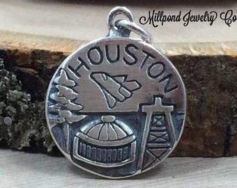 Houston Charm, Texas Charm, Houston Pendant, Sterling Silver Houston Charm, Sterling Silver Charm, PS31100