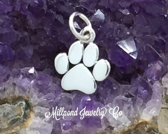 Paw Print Charm, Paw Print Pendant, Flat Paw Print Charm, Animal Lover Charm, Dog Lover, Sterling Silver Charm, Tiny, PS01436