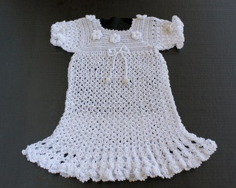 Christening Dress, Long Baptism Dress, Baby Baptism Dress, Crochet Baby Dress, Baby Christening Dress, Crochet Baby Dress, White baby Dress