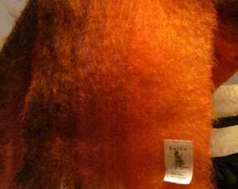 1960,s orange/brown ombre shaded mohair fluffy shawl.scarf by Royal Scot UK