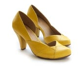 Sale 35% off! Yellow pumps, yellow shoes, women's shoes, heels, handmade leather shoes by Liebling, Nadia model.