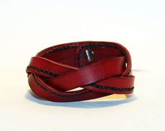 Red Leather Cuff Bracelet! Nice gift for women! Red wrist cuff! Bracelet for women! 100% handmade item!