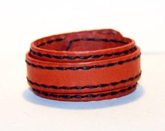 Orange Leather Cuff! Orange Rocker Bracelet! Great Gift! Orange Cuff! Orange bracelet! Handmade leather cuff!