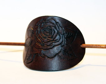Leather Hair Barrette, Brown, Hair Stick, Hair Slide, Hair Pin, Embossed Flower! Great gift! Rose Hair Barrette! Hair Accessories!
