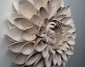 White ceramic dahlia wallpiece