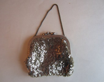Vintage Silver Sequined Evening Bag With Clasp, Vintage Silver Sequined Evening Purse 1950s, Silver Sequined purse vintage