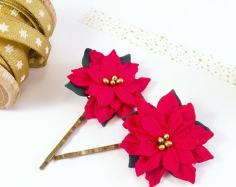 Limited Edition Christmas Flower Bobby Pins | Red Flower Hair Pins