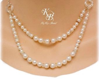 Wedding Jewelry, Bridal Necklace, Multi Strand Pearl Necklace, Prom Jewelry, Two Strand Necklace, Pearl and Crystal Necklace, Bridal Jewelry