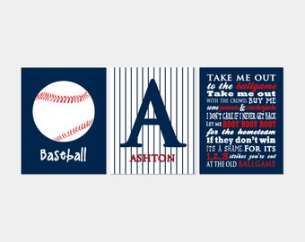 Baseball Wall Art Set of 3, Baseball Nursery Art, Take Me Out to the Ballgame Subway Art, Pinstripe Monogram, Baby Boy Sports Nursery Decor