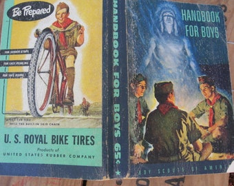 1950's Handbook for Boys Book Boy Scouts of America - Scouting Young Boys Men Americana First Aid Advertising