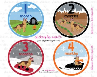 Month by Month Baby Boy Stickers - German Shepherd Theme