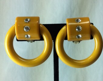 Vintage Bakelite Celluloid Earrings. Mustard Earrings
