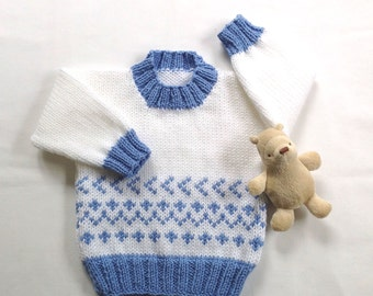 Fair Isle baby sweater - 6 to 12 months - Baby clothes - Baby shower gift - Infant pullover - Baby knits - Baby boy sweater