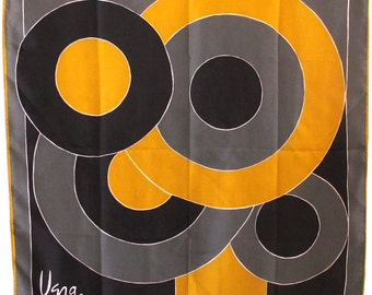 Vera Scarf Abstract Design Deep Yellow, Gray and Black Vintage Silk and Rayon