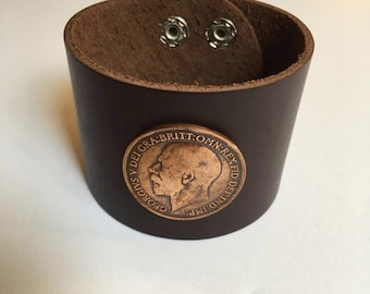 British Large Penny Leather Cuff Coin Bracelet w/ old George