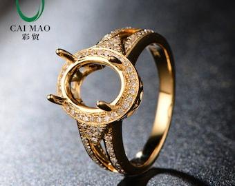Oval Cut 8x10mm 14kt Yellow Gold 0.39ct H SI Diamond Semi Mount Ring Setting Caimao Jewelry