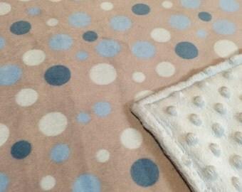 Blue Minky Dots Minky/Chenille Baby Blanket