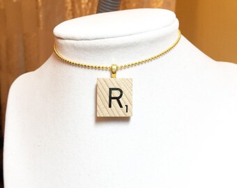 Scrabble Letter Necklace, Scrabble Letter Choker Necklace, Gold Necklace, Any Length, Most Popular Item, Best Selling Item