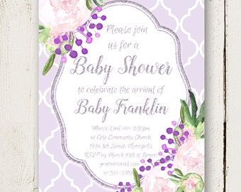 Peony Baby Shower Invitations, Baby Shower Invitations, Printable Baby Shower Invitations, Baby Girl Shower Invitations, #PPBI01D