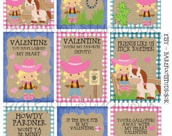 Cowgirl Printable Valentines 8.5x11 Digital Instant Download