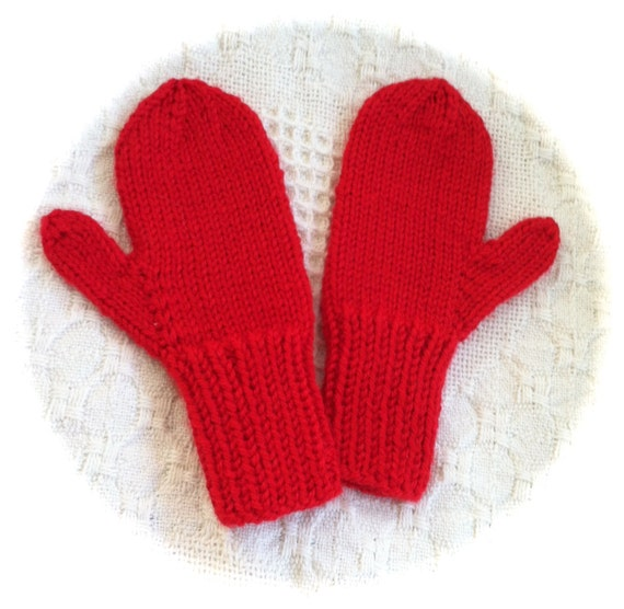 Childs Mittens Sized for 2-4 year old Red Hand knit