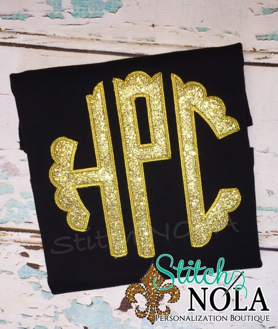 Scallop Monogram Applique on a Black Tee or Bodysuit