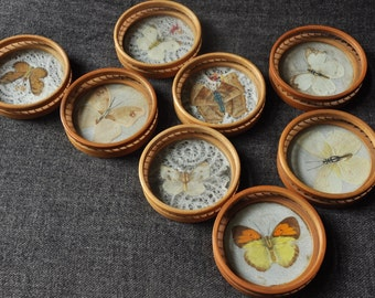 Set of 8 glass mounts with butterflies
