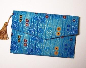 Turquoise Wallet, Blue cotton wallet, zipper wallet, minimalist bag
