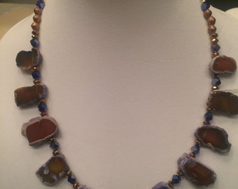 Natural brown agate with purple/blue/copper highlights Necklace
