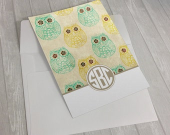 Personalized Custom Monogram Owls Stationary Flat Notecards -  Set of 25