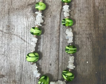 Kiwi Green and Quartz Necklace