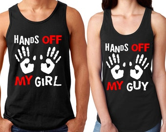 Hands Off My Girl - Guy Couple Matching TANK TOP Hands Off My Guy Couple Tank Top Best Couple Tee Tank Tops