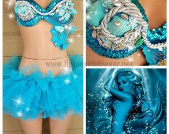 Blue Mermaid Rave Costume, Blue Mermaid Costume, Blue Mermaid, Women Rave Outfit, Women Rave Costume, Mermaid