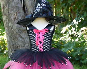 Wicked Witch costume, witch tutu dress,hocus pocus dress,pageant dress, Halloween costume girl, black and hot pink witch costume tutu dress