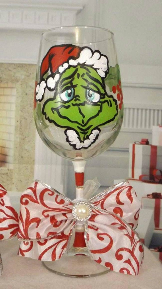 Grinch Wine Glasses Christmas Wikii