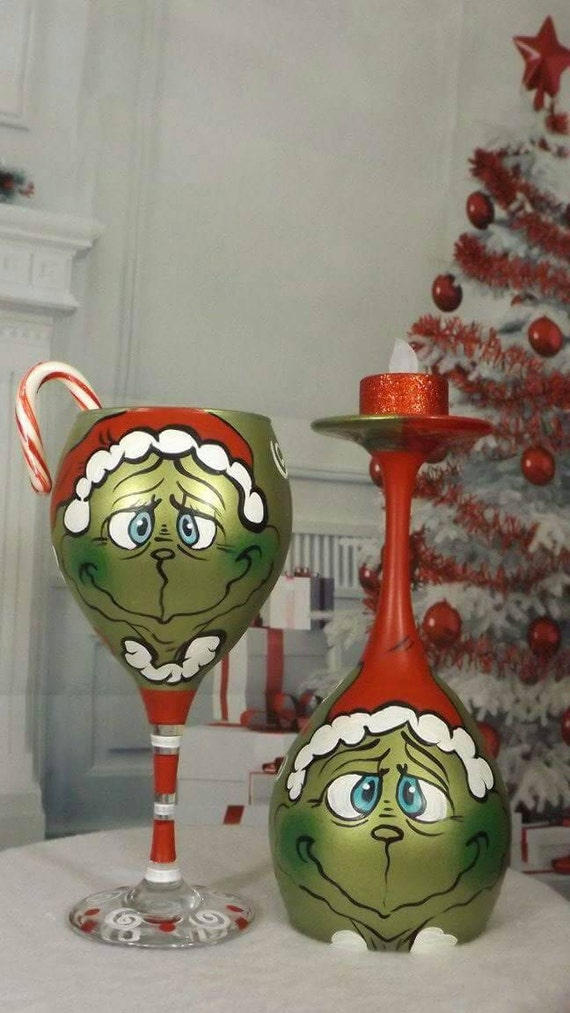 Grinch wine glasses page two christmas wikii for Hand painted wine glass christmas designs
