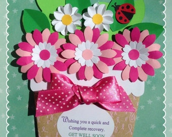 Flower Pot Get Well Soon Card-Fight Breast Cancer